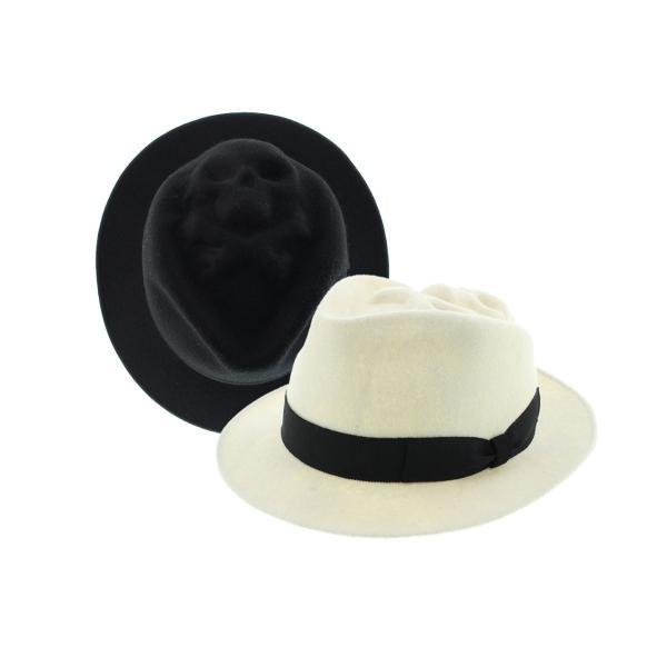 スカル フェルトハット17 ハット フェルトハット 57-59 ウール100% 春 秋 冬 BLACK WHITE|hatter-knowledge