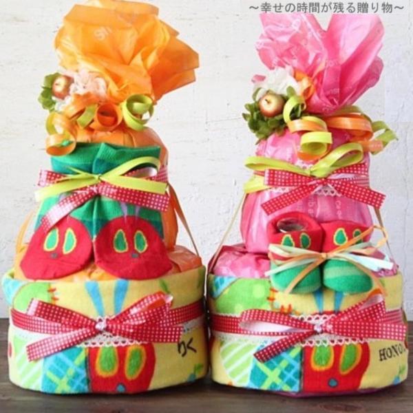 おむつケーキ  1歳 0歳 仕掛け  ブランド ケーキ 名前 花 ガーゼ かわいい ママ 6ヶ月 記念 月齢 アオムシ 送料無料