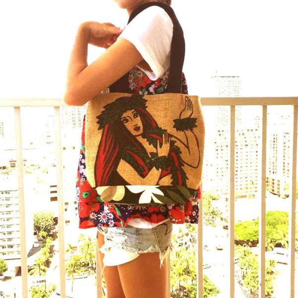 コーヒー豆 麻袋バッグ ササキバッグ フラガール ハワイライオンコーヒー ハワイお土産|hauolihawaii|02