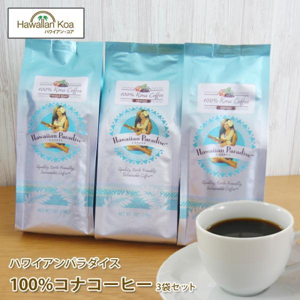 ハワイアンパラダイス 100%コナコーヒー 高級 ハワイコナ 7oz 198g 3袋セット ハワイコナ ハワイ コーヒー  アイスコーヒー