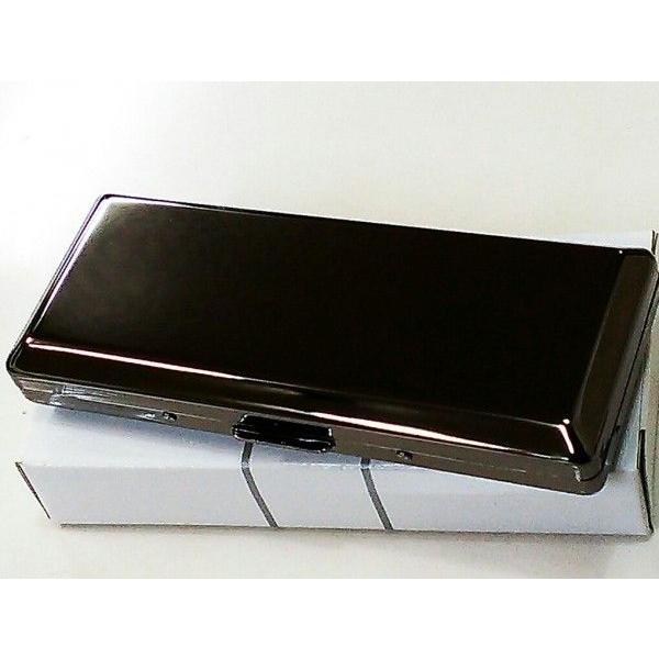 シガレットケース ロング対応 超コンパクト 黒ニッケル プレーン タバコケース 10本収納 たばこケース メンズ/レディース 綺麗な煙草入れ
