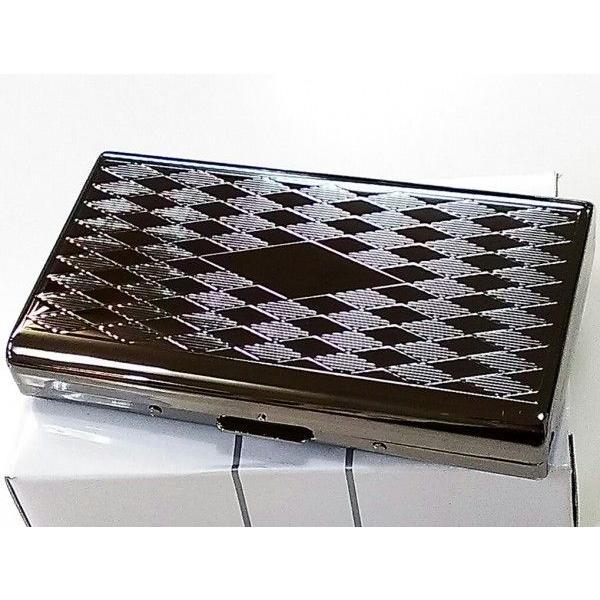 シガレットケース 黒ニッケル ダイヤ タバコケース 頑丈 14本 収納 ロング対応 コンパクト ハードケース ブラック彫刻デザイン メンズ
