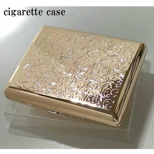 シガレットケース ロング レディース 20本 ゴールドアラベスク タバコケース  たばこケース おしゃれ 金 頑丈 綺麗な煙草入れ メンズ