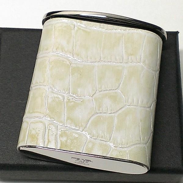 携帯灰皿 おしゃれ タスカ ホワイト レザー かっこいい クロコ型押し 日本製 PEARL 牛本革 白 国産 ブランド かわいい プレゼント