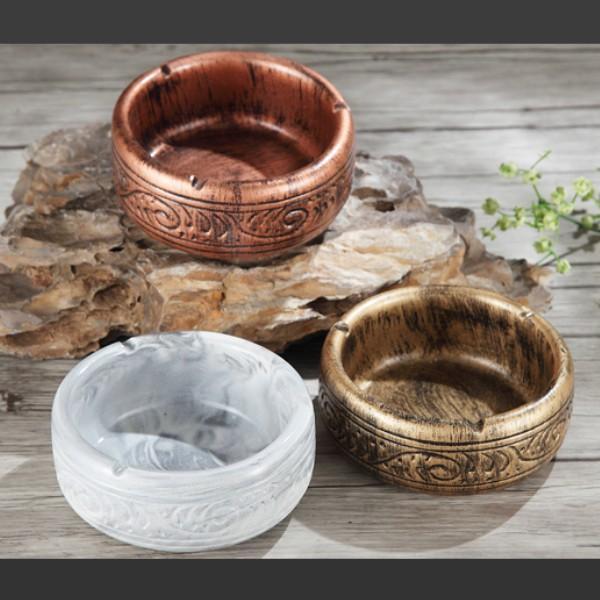灰皿 アンティーク 丸型 古美灰皿 彫刻デザイン レトロ おしゃれ アジアン雑貨