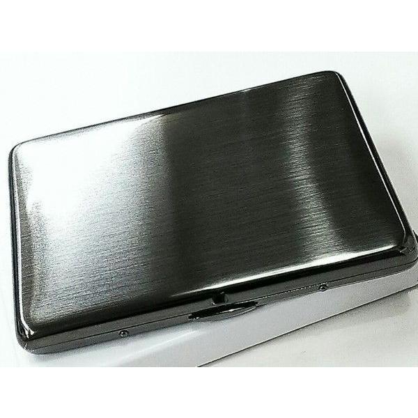 シガレットケース ロング対応 タバコケース ブラックサテン 薄型 たばこケース シンプル 煙草入れ 潰れない 真鍮製 プレゼント ギフト