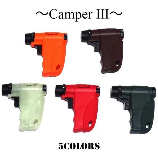 ガスライター キャンパー 5カラー ブラック オレンジ 蓄光 レッド バーガンディ ライター バーナーフレーム 日本製 ガンタイプ アウトドア キャンプ メンズ