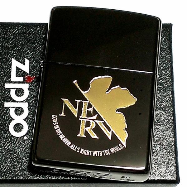 ZIPPO エヴァンゲリオン ネルフマーク ジッポ ライター 限定 シリアル入り ブラック&ゴールド 黒金 かっこいい メンズ レディース アニメ