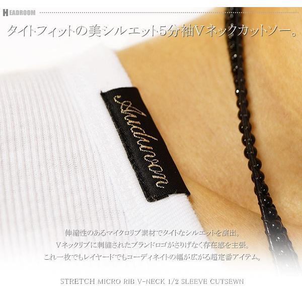 カットソー メンズ ストレッチ マイクロリブ 5分袖 Vネック Tシャツ|headroom|02