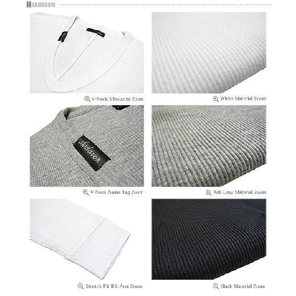 カットソー メンズ ストレッチ マイクロリブ 5分袖 Vネック Tシャツ|headroom|06