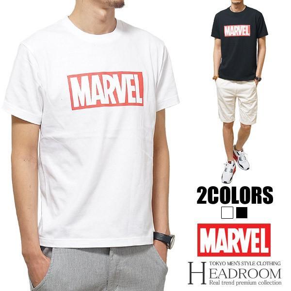 Tシャツ メンズ 正規ライセンス MARVEL マーベル ボックスロゴ コットン100% アメカジ|headroom