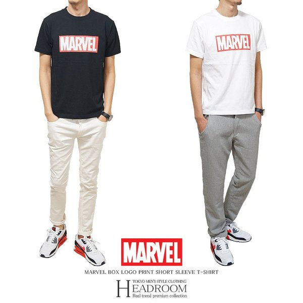Tシャツ メンズ 正規ライセンス MARVEL マーベル ボックスロゴ コットン100% アメカジ|headroom|03