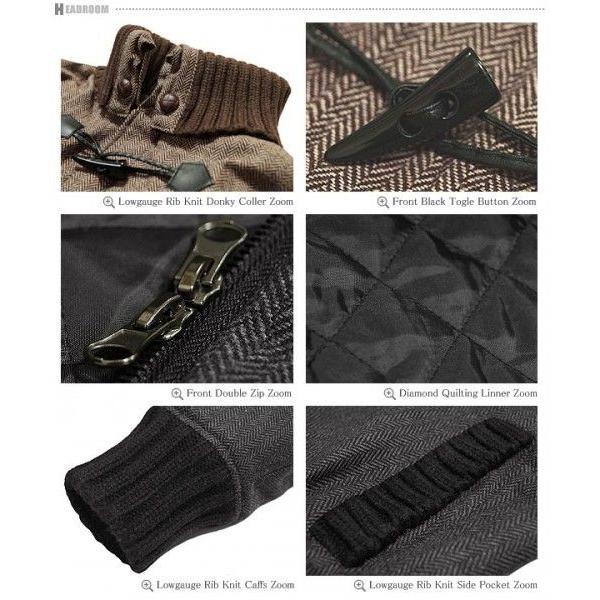 ダッフルコート メンズ ヘリンボーン ツイード ドンキー襟 ウールMIXジャケット キルティング|headroom|06