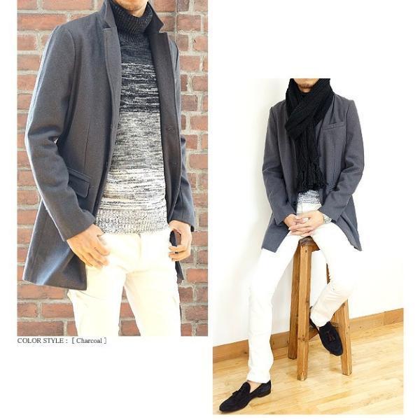 コート メンズ カルゼ編み メルトン ウール 起毛 ロング チェスターコート スリム|headroom|13