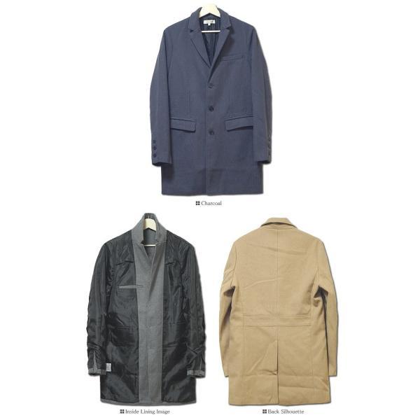 コート メンズ カルゼ編み メルトン ウール 起毛 ロング チェスターコート スリム|headroom|18
