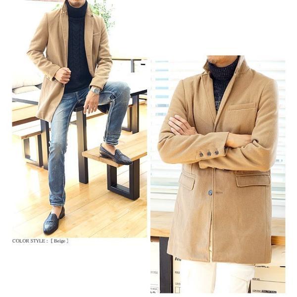 コート メンズ カルゼ編み メルトン ウール 起毛 ロング チェスターコート スリム|headroom|05
