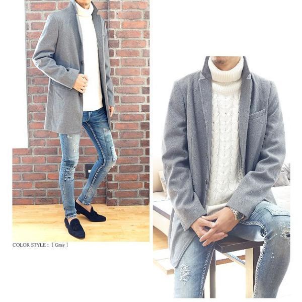 コート メンズ カルゼ編み メルトン ウール 起毛 ロング チェスターコート スリム|headroom|09