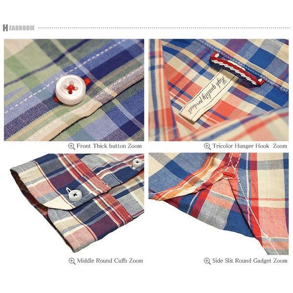 長袖シャツ メンズ /ブロードコットン100%マドラスチェックシャツ/長袖カジュアルシャツ headroom 06