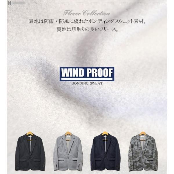 ジャケット メンズ 3層構造 WIND PROOF ボンディング スウェット テーラードジャケット 防風性能 ライトアウター|headroom|02