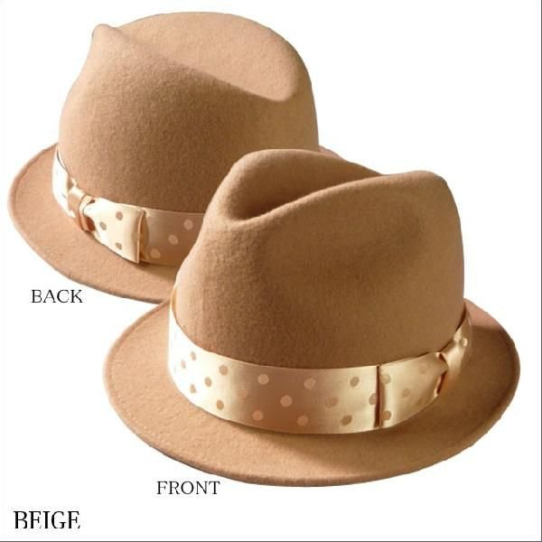 World wide famous【秋冬 ハット】【ギフト】【新作】ウール 中折れ 帽子 レディース メンズ ドットリボン ワールドワイドフェイマス Dot short hat|headwear-blake|03