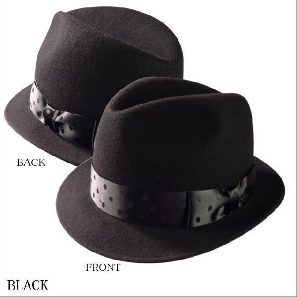 World wide famous【秋冬 ハット】【ギフト】【新作】ウール 中折れ 帽子 レディース メンズ ドットリボン ワールドワイドフェイマス Dot short hat|headwear-blake|04