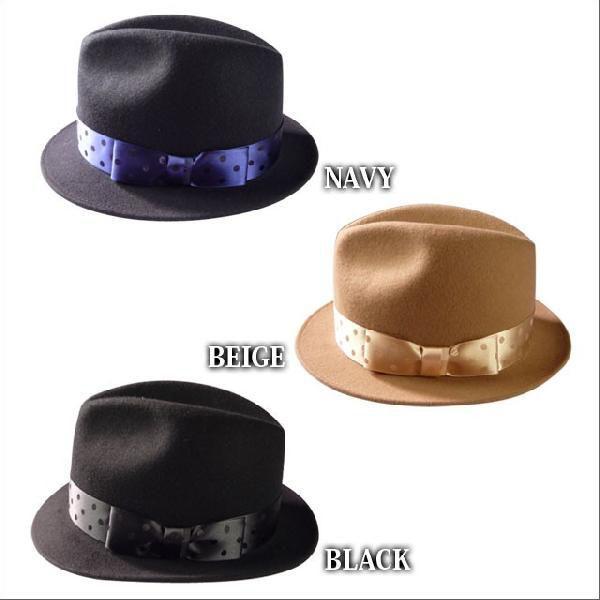 World wide famous【秋冬 ハット】【ギフト】【新作】ウール 中折れ 帽子 レディース メンズ ドットリボン ワールドワイドフェイマス Dot short hat|headwear-blake|06