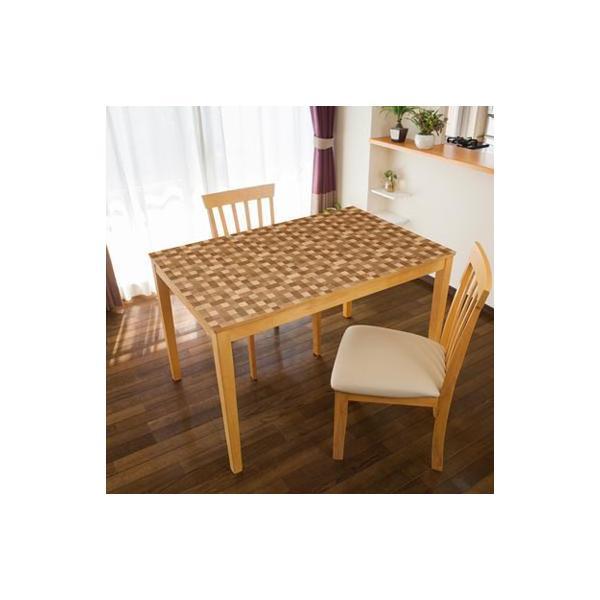 TABLECLOTH DECORATION テーブルデコレーション 貼る!テーブルシート 90cm×150cm モザイクウッド LBR・ライトブラウン