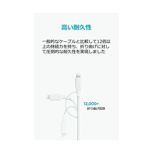 Anker PowerLine II ライトニングUSBケーブル【Apple MFi認証取得 / 超高耐久】iPhone / iPad / iPod各種対応 1.8m ホワイト A8433521 healthysmile 04
