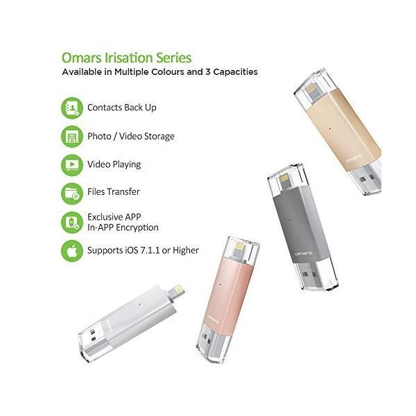 Apple認証 (Made for iPhone取得) Omarsフラッシュドライブ 2 USBメモリコネクタ付きiPhone iPad iPod touchの容量不足解消  (64Gゴールド) healthysmile 05
