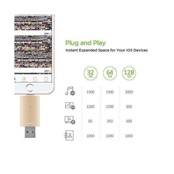 Apple認証 (Made for iPhone取得) Omarsフラッシュドライブ 2 USBメモリコネクタ付きiPhone iPad iPod touchの容量不足解消  (64Gゴールド) healthysmile 06
