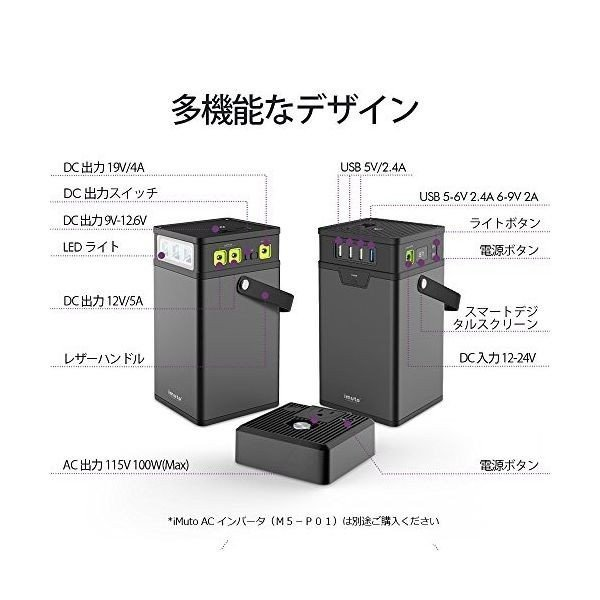 iMuto M10 ポータブル電源 372Wh/100500mAh 大容量バッテリー USB&DC&AC出力 正弦波 バックアップ用予備電源 家庭用蓄電池 100Wインバーター付|healthysmile|06