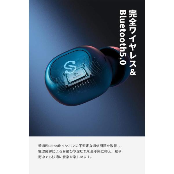 ワイヤレスイヤホン SoundPEATS(サウンドピーツ) TrueFree+  Bluetooth 5.0 完全 AAC対応 防水 小型 軽量 TWS ブルートゥース ヘッドホン ブラック|healthysmile|02