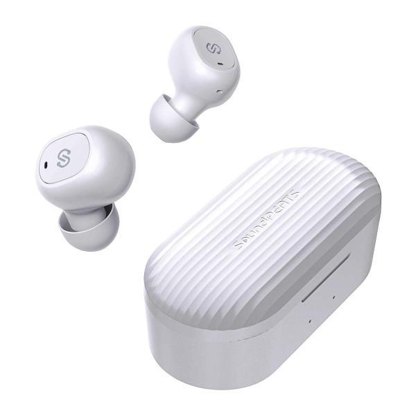 ワイヤレスイヤホン SoundPEATS(サウンドピーツ) TrueFree+ Bluetooth 5.0 ワイヤレス AAC対応 防水 小型 軽量 TWS ブルートゥース ヘッドホン  ホワイト|healthysmile