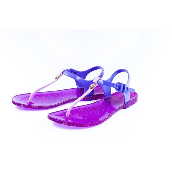 ビーチサンダル レディース かわいい Zhoelala シューララ candy rock purple glitter パープル ラメ