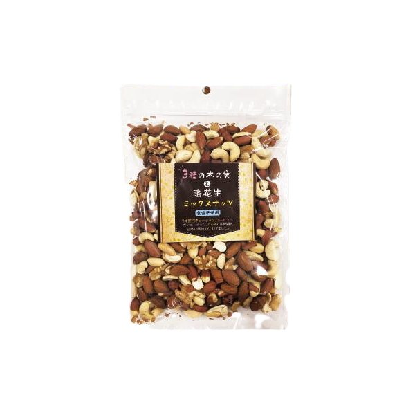 3種の木の実と落花生 ミックスナッツ 300g×10個セット ナッツ アーモンド くるみ カシューナッツ ピーナッツ 無塩 無添加 おやつ おつまみ