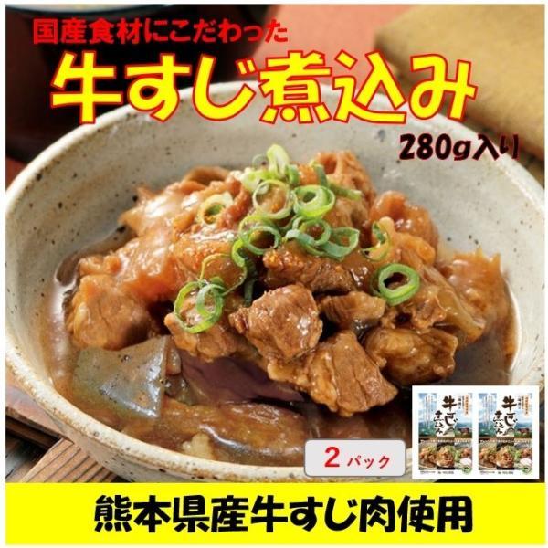 牛すじ煮込み 2パック 280g入り×2 熊本県産の牛すじ肉使用 国産 メール便 送料無料 ポイント消化