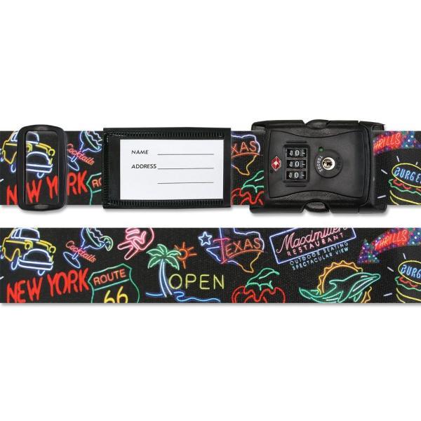 スーツケースベルト TSAベルト ネオン柄 固定 空港 おしゃれ 派手 預入手荷物 黒 かわいい 個性的 ポップ 目印
