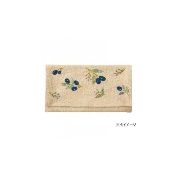 フランス刺しゅうキット 花言葉のたしなみポーチ オリーブ 9088