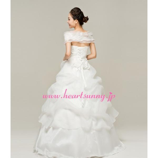 ウェディングドレス オフショルダー フリル 編み上げ E019|heartsunny|02