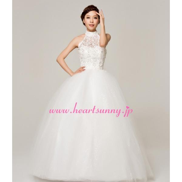 ウェディングドレス ビーズ飾りホローレースホルターネック E144|heartsunny