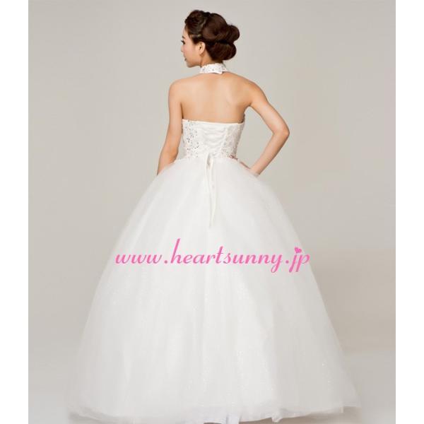 ウェディングドレス ビーズ飾りホローレースホルターネック E144|heartsunny|02