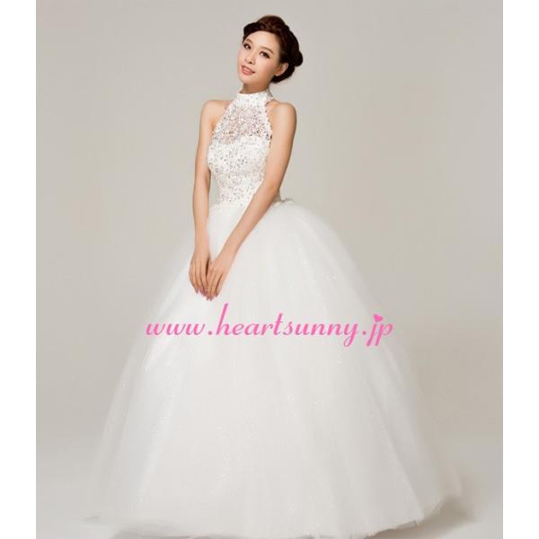 ウェディングドレス ビーズ飾りホローレースホルターネック E144|heartsunny|03