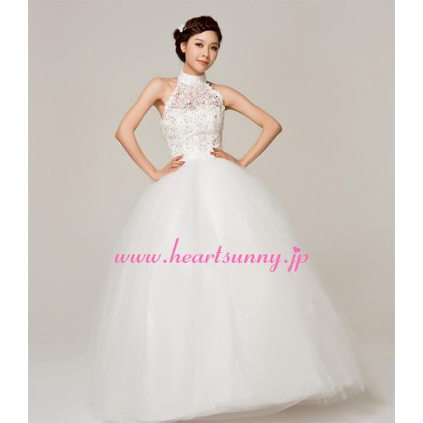 ウェディングドレス ビーズ飾りホローレースホルターネック E144|heartsunny|04