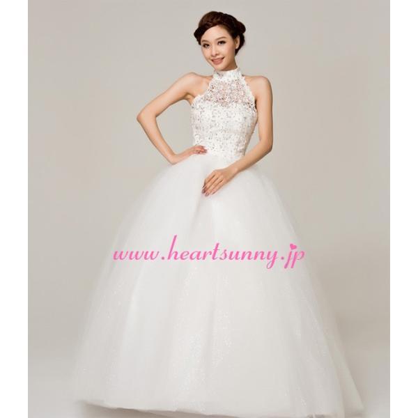 ウェディングドレス ビーズ飾りホローレースホルターネック E144|heartsunny|05