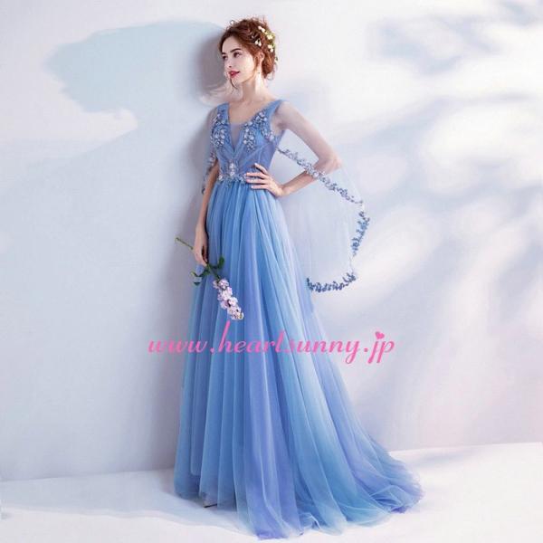 パーティードレス カラードレス 藍色 青色 空色 ブルー ロング e304|heartsunny|02