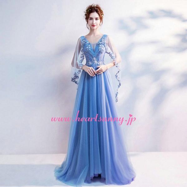 パーティードレス カラードレス 藍色 青色 空色 ブルー ロング e304|heartsunny|04