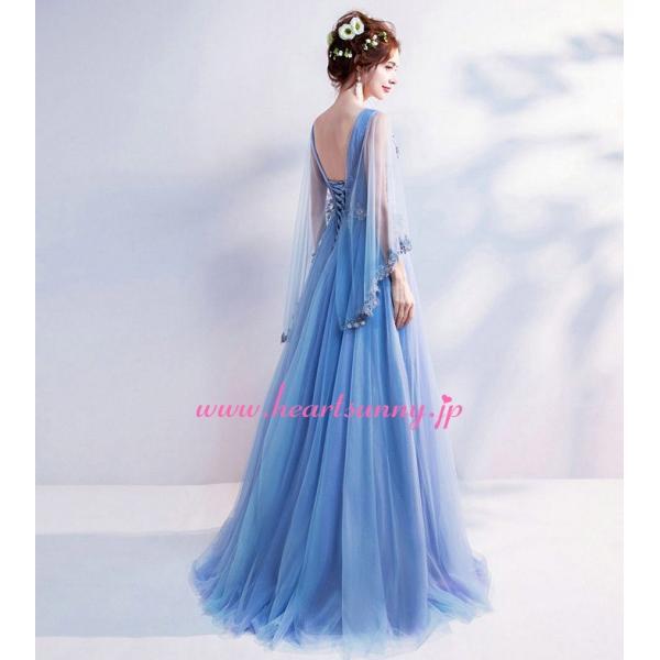 パーティードレス カラードレス 藍色 青色 空色 ブルー ロング e304|heartsunny|05