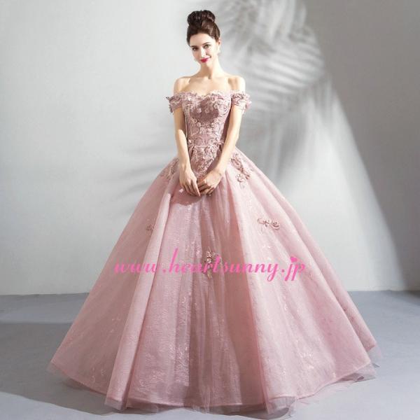 パーティードレス カラードレス ピンク色 ロング e319|heartsunny|02