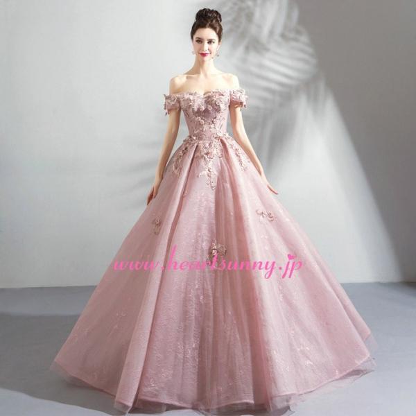 パーティードレス カラードレス ピンク色 ロング e319|heartsunny|03