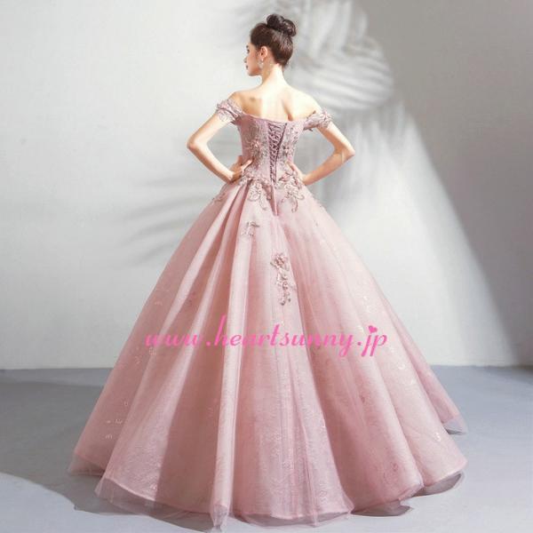 パーティードレス カラードレス ピンク色 ロング e319|heartsunny|04